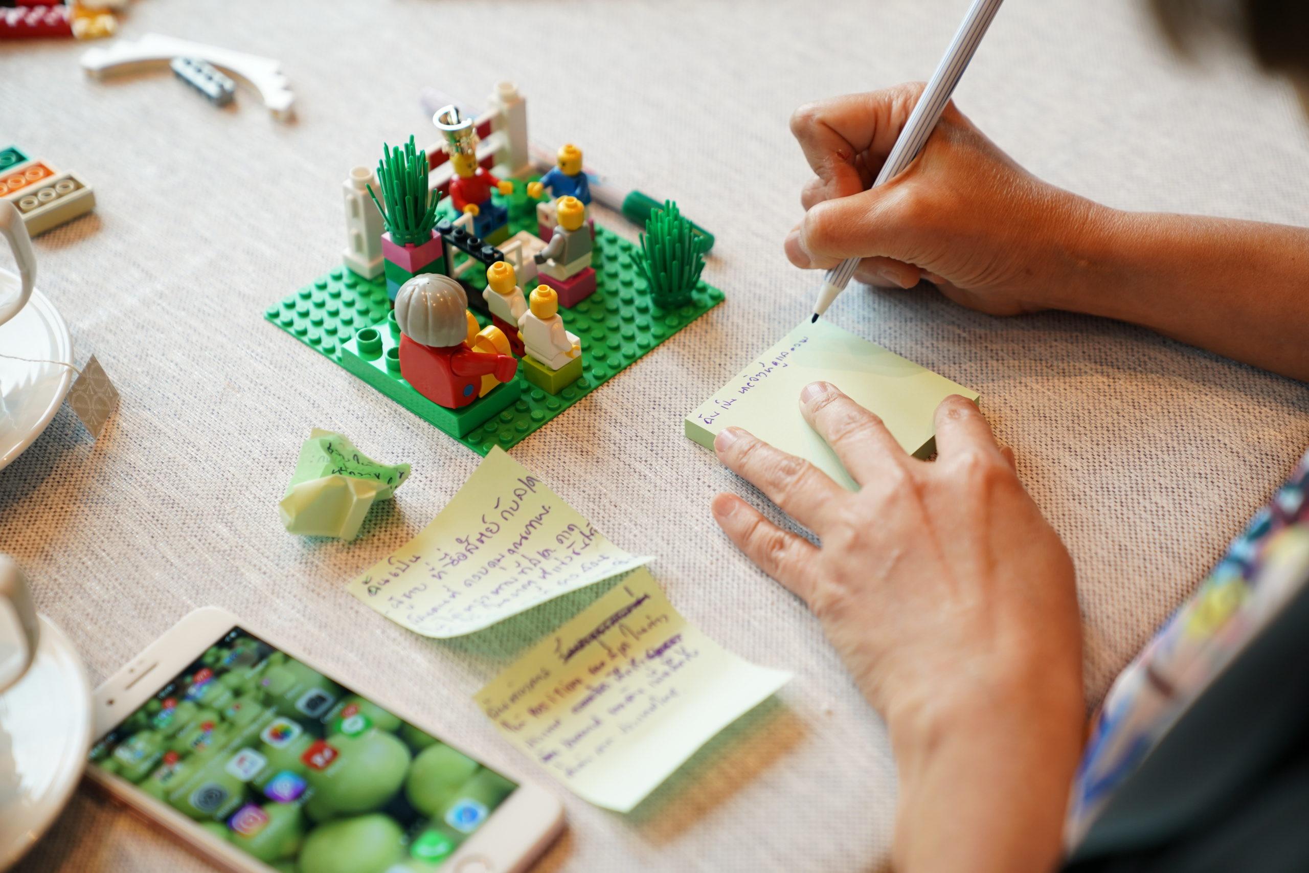นักเรียนเขียนอธิบายจากผลงาน Lego serious play
